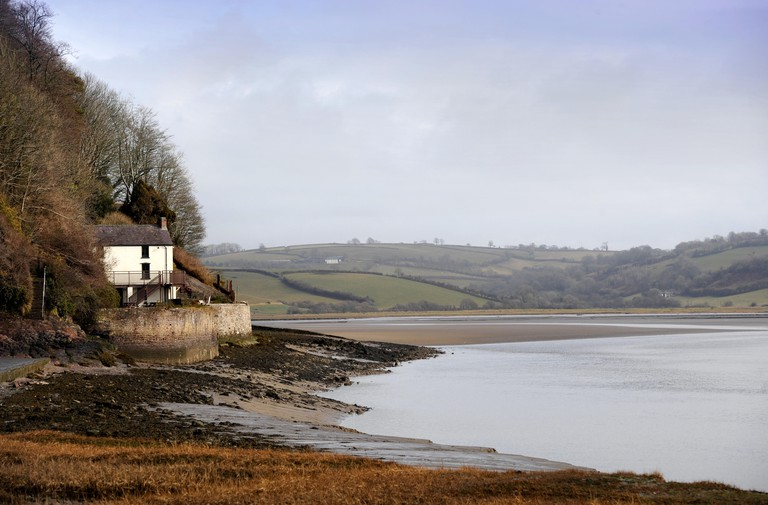 The Dylan Thomas Boathouse in Laugharne on the Taf estuary in Carmarthenshire, Wales UK. Image shot 2011. Exact date unknown.
