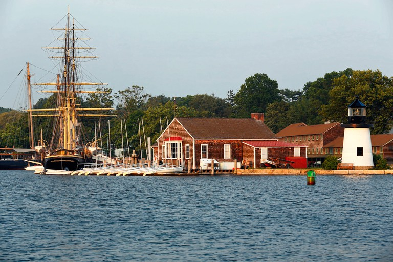 Harbor View with a Lighthouse and Sailing Ships, Mystic Seaport, Connecticut