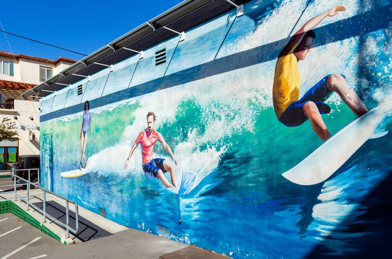Mural on the side of the International Surfing Museum, Huntington Beach, Orange County, California, USA