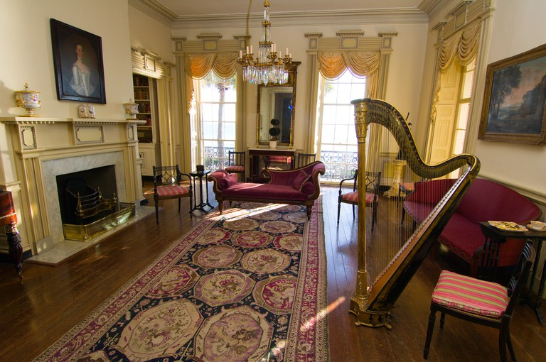The East Drawing Room a Greek Revival interior of the Edmonston Alston House museum on East Bay Street The Battery in the historic district of Charleston South Carolina