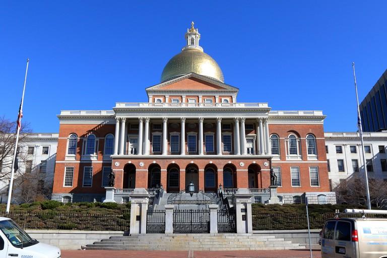 Boston Freedom Trail landmark. Massachusetts State House, Boston Massachusetts.