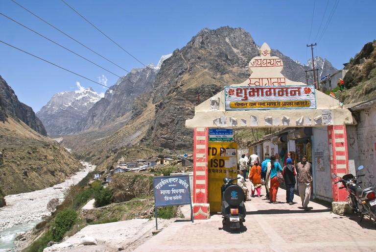 Mana village entrance near Badrinath, Uttarakhand, India