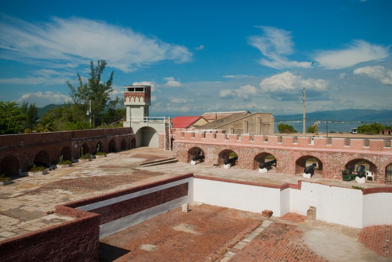 View of cannons and tower in courtyard of Fort Charles, in Port Royal, across the harbor from Kingston, St Andrew, Jamaica.. Image shot 2010. Exact date unknown.