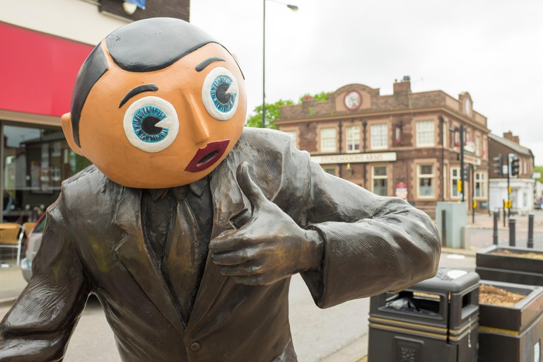 Close-up of Frank Sidebottom statue in Timperley, Greater Manchester. Image shot 2015. Exact date unknown.