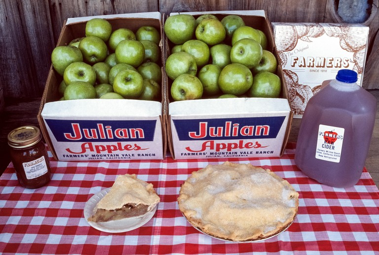 Apples are a mainstay of the rural mountain community of Julian that has long been a popular getaway in San Diego County in Southern California, USA. Apple pie, apple butter, apple cider and just-picked apples themselves are found at roadside stands, loca