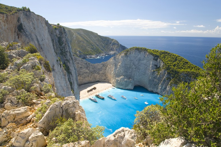 View from clifftop, Navagio Bay, Zakynthos, Greece