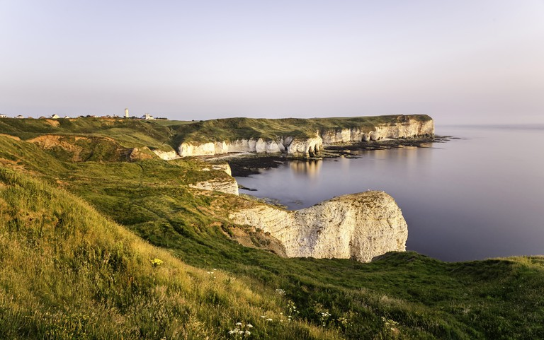 High chalk cliffs and coastline, Flamborough Head, Yorkshire, UK.