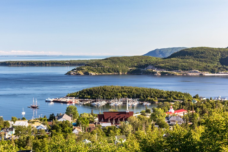 View of Tadoussac and the point where Saguenay river join St-Lawrence river. Quebec, Canada.