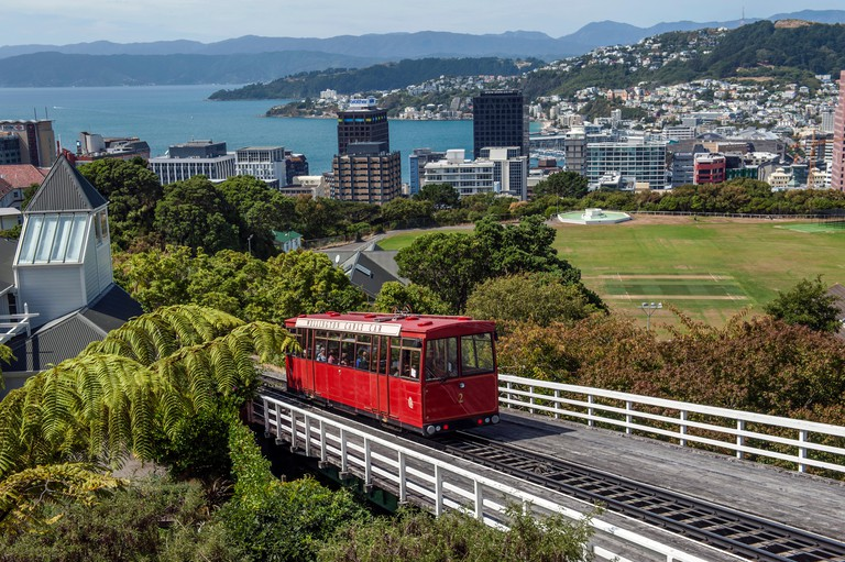 The Wellington Cable Car, a funicular railway in Wellington, New Zealand