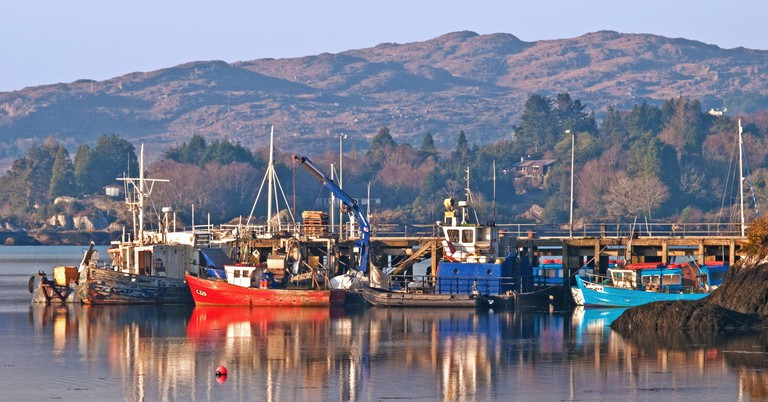 Fishing boats moored alongside the pier in Glengarriff Harbour, County Cork, Ireland