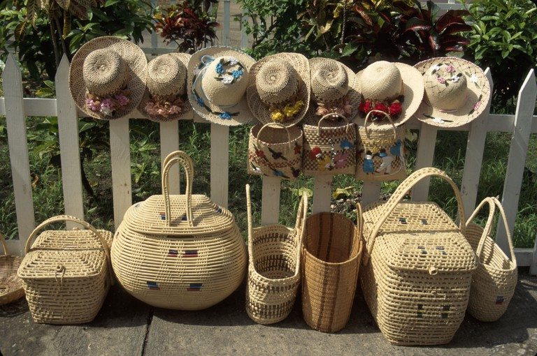 Jamaica, Jamaican, Caribbean Sea, water, Tropics, warm weather, climate, Montego Bay, Harbour Street, Craft Market, marketplace, wicker basket, straw