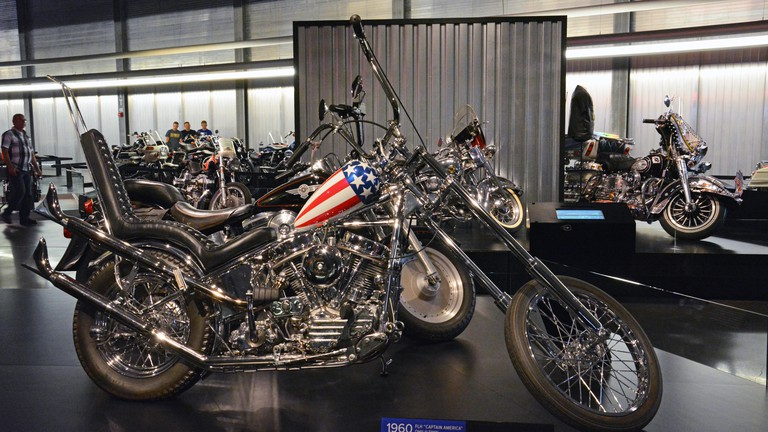 A reproduction of the iconic Easy Rider chopper on display at the Harley Davidson Motorcycle Museum in Milwaukee.