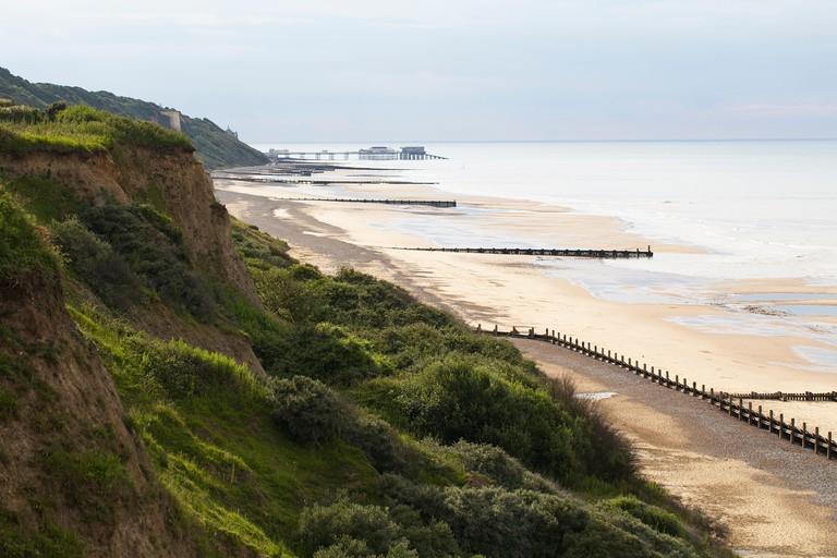 Overlooking the undercliff and beach, looking towards Cromer pier, Norfolk.