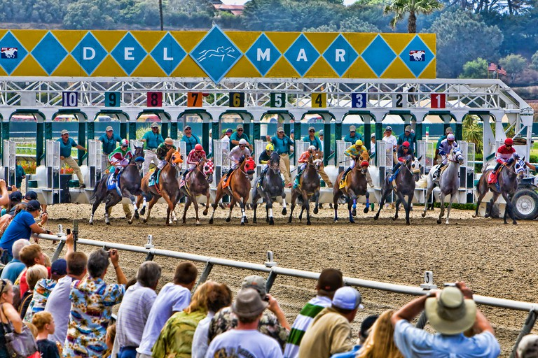 Horses leave the starting gate at the beginning of the race.
