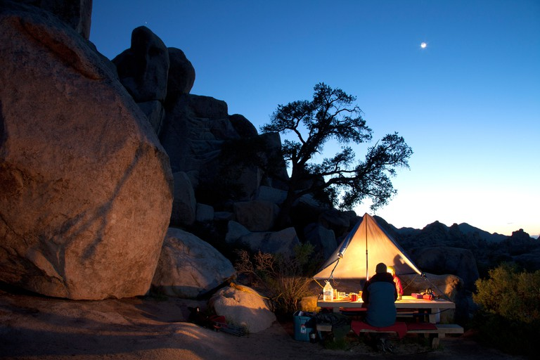 Campers in Hidden Valley Campground, Joshua Tree National Park, California