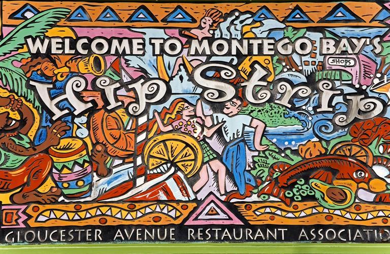 Hip Strip sign on Gloucester Avenue, Montego Bay, Jamaica, Caribbean
