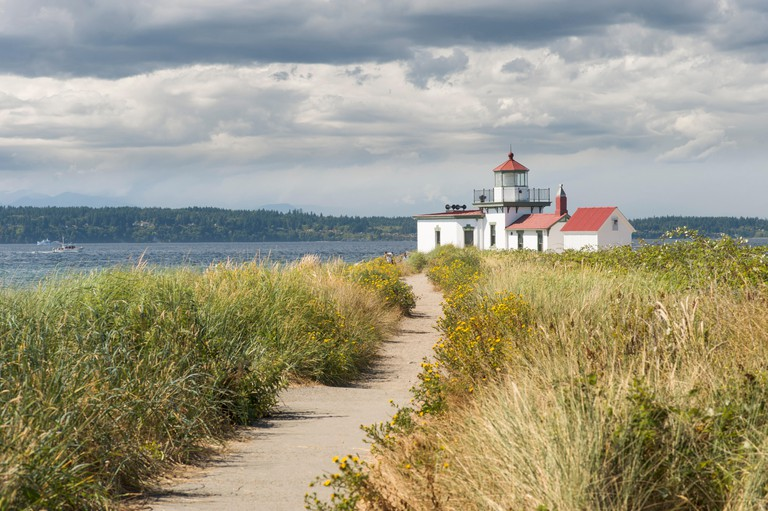 Sandy path leading to West Point Lighthouse, Discovery Park, Seattle, King County, Washington, USA