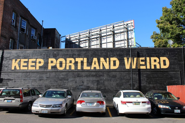 Keep Portland Weird sign, Oregon, USA. Image shot 10/2012. Exact date unknown.