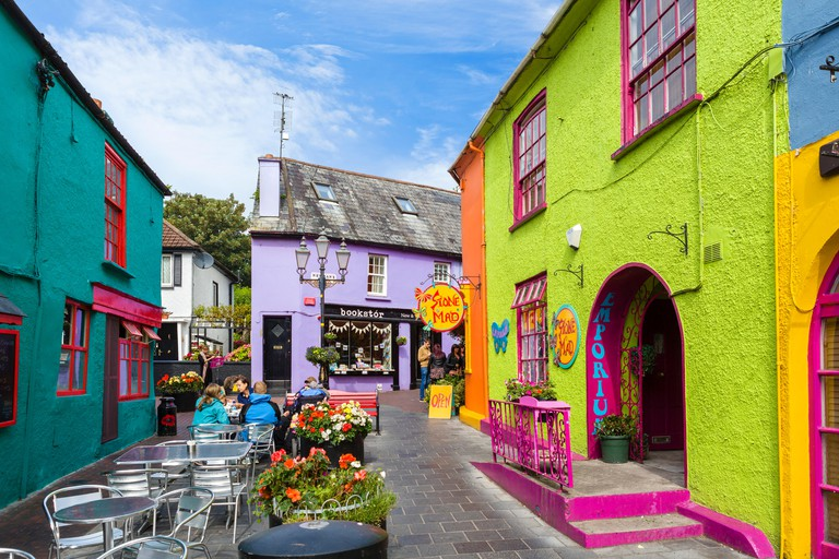 Cafe and shops in Newman's Mall in the town centre, Kinsale, County Cork, Republic of Ireland