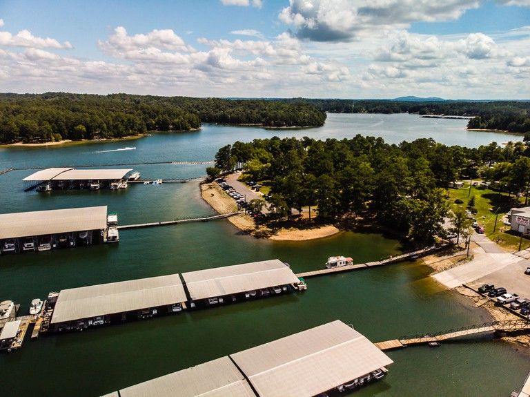 Aerial view of the Lake Allatoona taken by drone on a hot summer day in Georgia, USA
