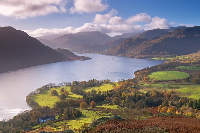 Ullswater from Gowbarrow Fell, Lake District National Park, Cumbria, England. Autumn (November) 2014.