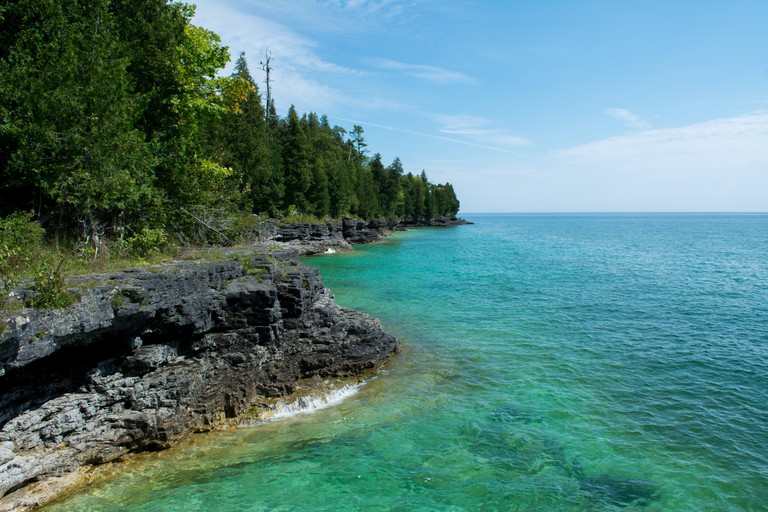 The lake Michigan coast in Door County Wisconsin. This picture is taken at Cave Point County Park.
