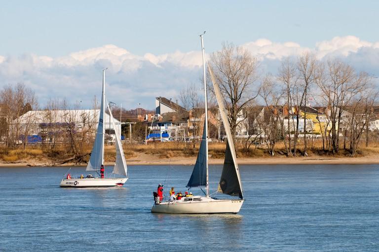 Sailboat sailing on Lake Huron and the St Clair River at Port Huron Michigan