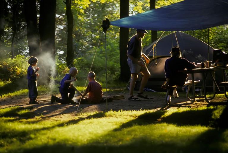Isle Royal National Park on Lake Superior in Michigan Upper Peninsula provides recreational activities like camping and hiking