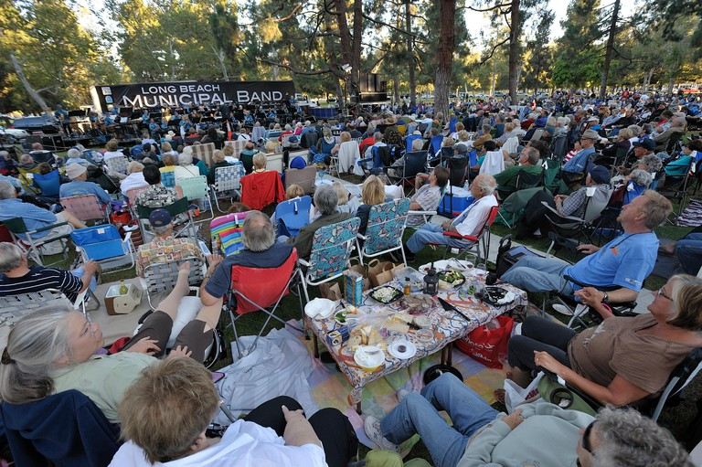 Aug. 13, 2010 - Long Beach, California, U.S. - LONG BEACH, CALIF. USA -- About 4000 music fans came to the Long Beach (Calif.) Municipal Band's last performance of the summer' at El Dorado Park...The Long Beach Municipal Band, the nation's oldest continua