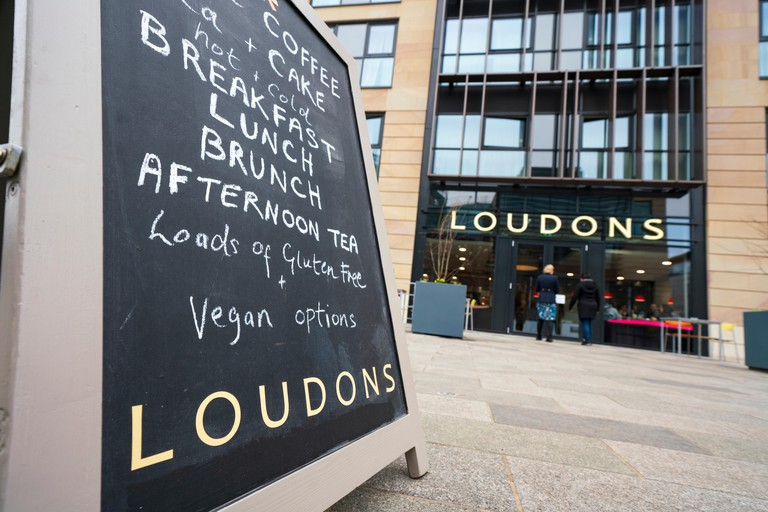 View of new branch of Loudons restaurant and cafe in New Waverley mixed residential and commercial property development in Edinburgh Old Town, Scotlan
