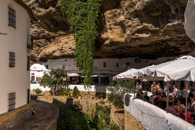 RONDA, ANDALUSIA / SPAIN - OCTOBER 08 2017: SMALL VILLAGE IN RONDA MOUNTAINS