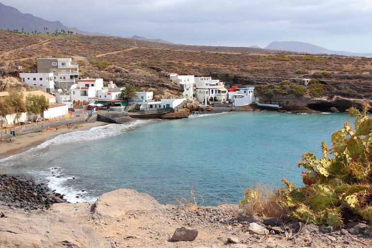Tenerife, Canary Islands, Spain - town of El Puertito. Black sand beach of Costa Adeje coast.