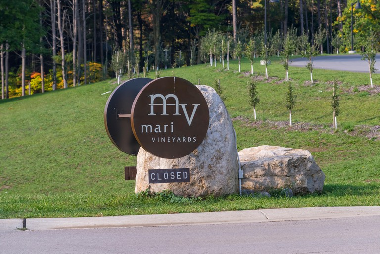 Sign for Mari vineyards on Old Mission Peninsula, Traverse City, Michigan. Owned by Marty Latina of Mystery of Oak Island TV series.