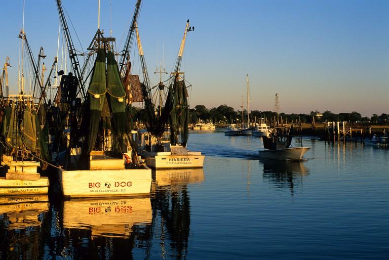 Shrimp boats at sunset in McClellanville, South Carolina.
