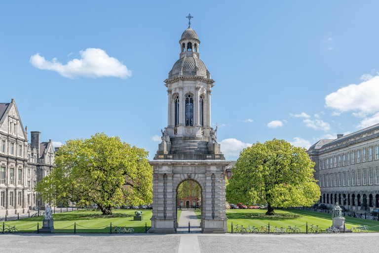 Empty Parliament Square of Trinity College Dublin on a sunny Summers day