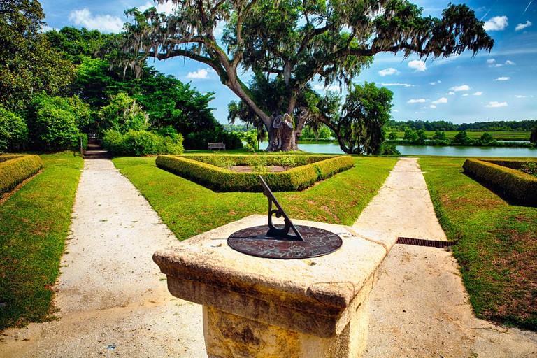 English Garden Path with a Sundial, Middleton Place Plantation, Charleston, South Carolina