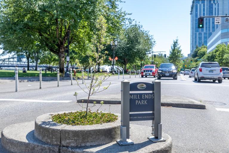 Portland, Oregon - June 29, 2019 : Mill Ends Park, The world's smallest park