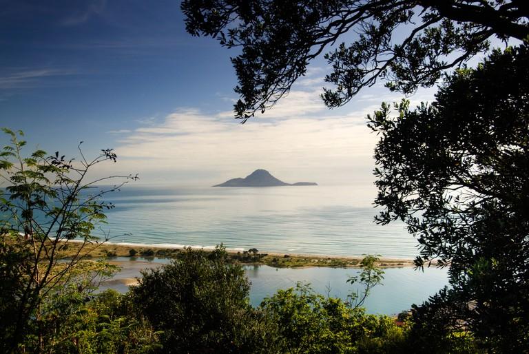A view of Whale Island (Moutohora), Whakatane, North Island, New Zealand
