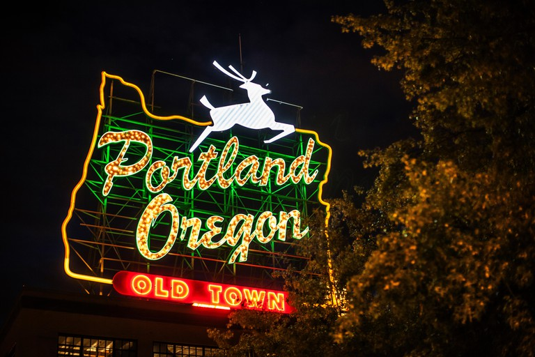 Neon sign for Old Town, Portland, Oregon, US