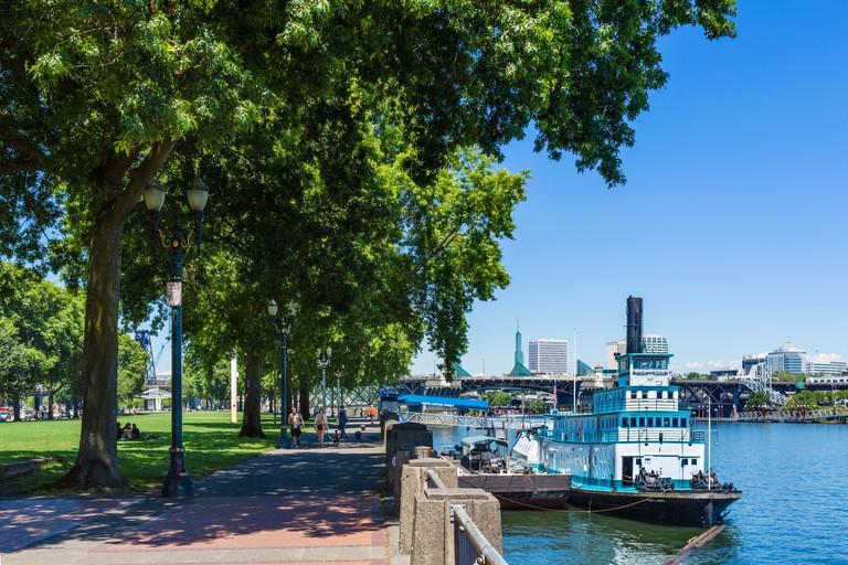Oregon Maritime Museum ship in the Tom McCall Waterfront Park, Willamette River, Portland, Oregon, USA