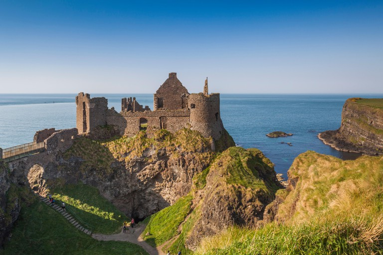 UK, Northern Ireland, County Antrim, Bushmills, Dunluce Castle ruins