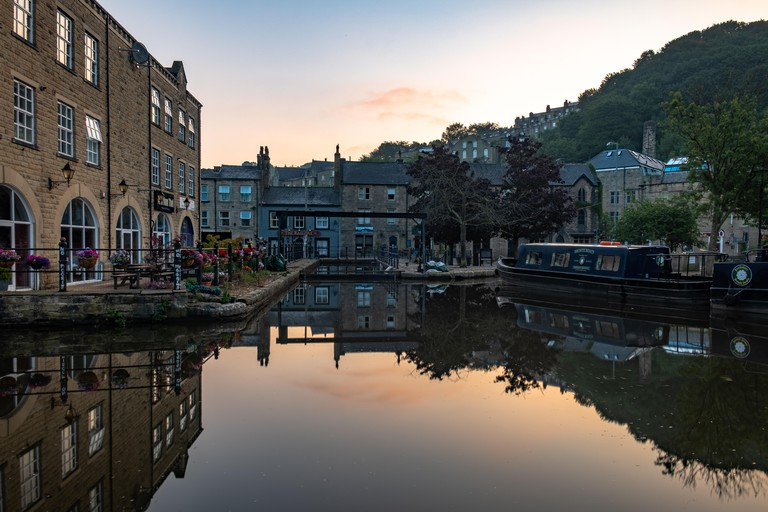 Beautiful calm morning by the canal in Hebden Bridge