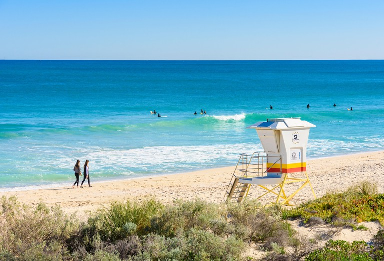 Surfers at Scarborough Beach, Perth, Western Australia