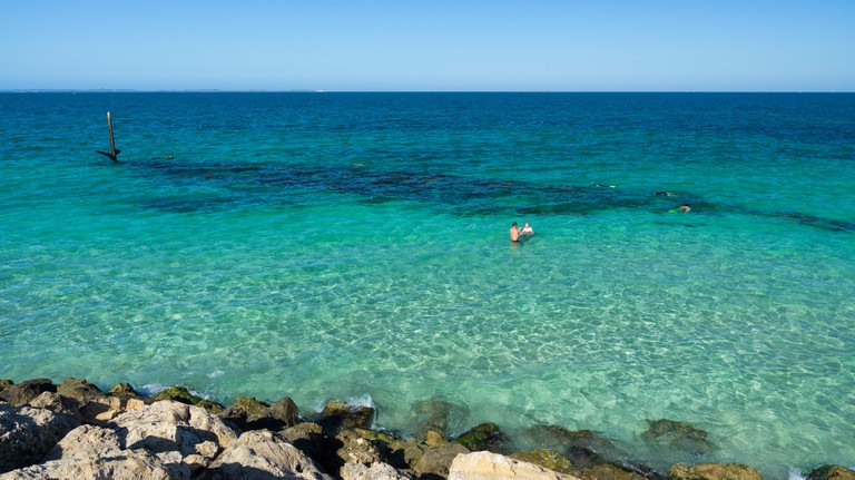 Wreck of SS Omeo on a sunny day in clear water at Coogee Beach near Perth Western Australia
