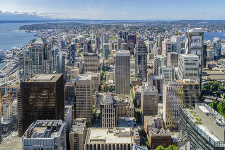 Seattle Skyline. Aerial view of downtown Seattle from the Sky View Observatory Tower, WA, USA.