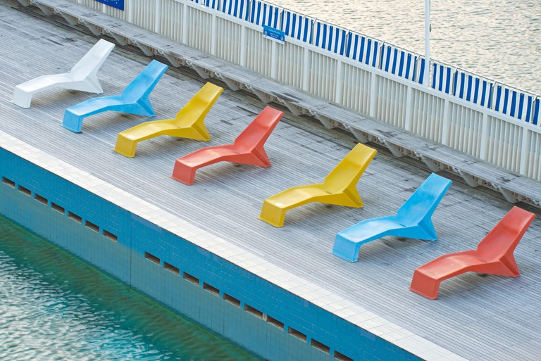 Deckchairs beside the pool at Parnell Baths, Auckland, North Island, New Zealand