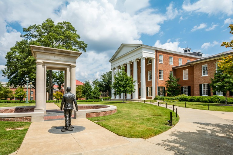Civil Rights monument  honoring James Meredith at the University of Mississippi, Ole Miss, in Oxford, Mississippi, USA.