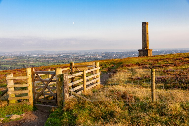Peel Memorial Tower on Holcombe Hill, Ramsbottom, Lancashire, England.