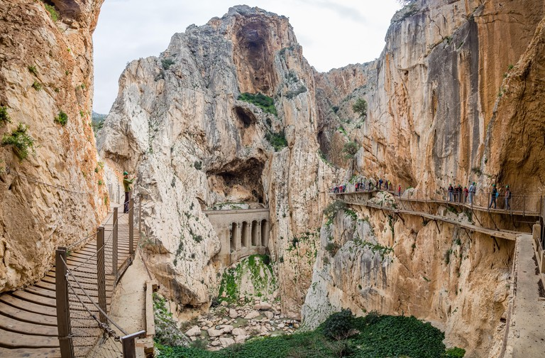 Walkways and dramatic cliffs of Caminito del Rey, Spain