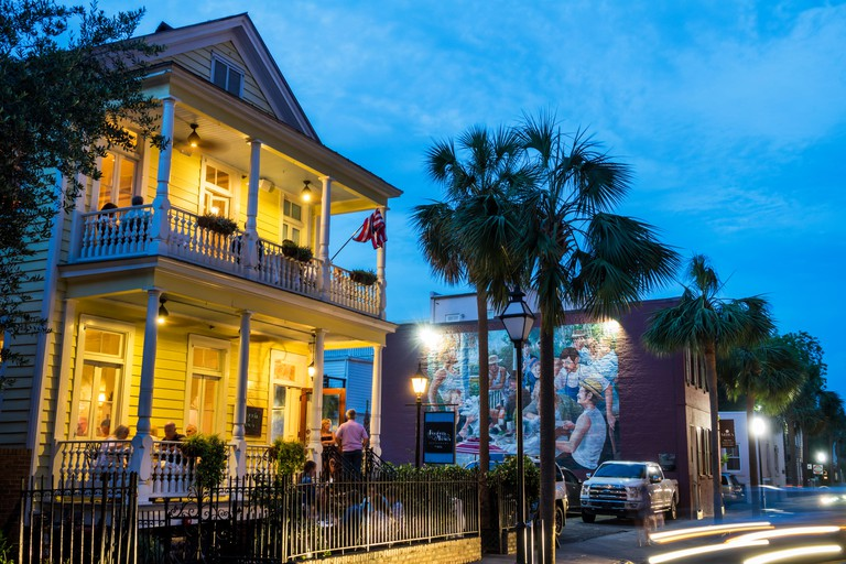 Charleston South Carolina SC historic Downtown Queen Street Poogan's Porch southern cuisine restaurant dining dusk night nightlife